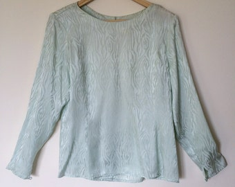 vintage silk blouse/silk shirt/silk button down