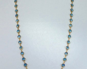 "Raindrops Necklace - Aquamarine/Gold 36"" Swarovski crystal"