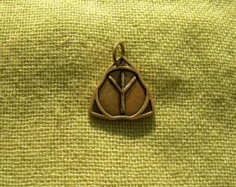 Viking Runes Pendant. Futhark Algiz Rune pendant. Bronze Algiz Rune. Scandinavian Rune pendant. Viking Nekclace. Runic Amulet. Talisman.