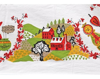 Vintage Tablecloth, Mid Century Modern, Chicken, Rooster, Autumn Colors, Chartreuse Green, Red, Harvest Gold, Americana, Landscape