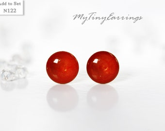 Red Apple Glossy Stud Earrings Mini Tiny 6mm Stainless Steel Gold Plated Posts plus High Quality Epoxy Resin 122
