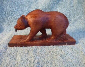 Giant Sequoia California Grizzly Bear Carving