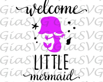 Little Mermaid SVG, newborn girl svg, baby svg, baby mermaid svg, ready for cutting, Cricut, Silhouette etc, also in png, eps & DXF format