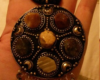 Large multi-gem beaded necklace