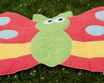 Shaped Baby Play Quilt - Girls quilt - Butterfly - orange, coral - Wall hanging - Nursery - Modern decor - boys quilt - baby shower gift