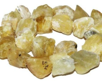 18-21mm Freesize Natural Yellow Opal Nugget Rough Gemstone Loose Beads 8pc