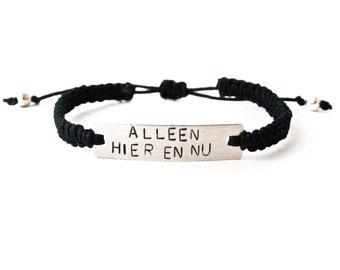 Knitted handstamped bracelet