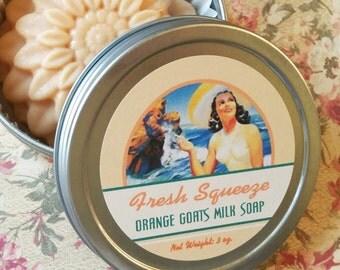 Orange Goat Milk Soap /  Natural Soap / Moisturizing Soap / 4 varieties - Strawberry, Peach, Orange, Lemon, choose 1 / 3 oz bar with tin