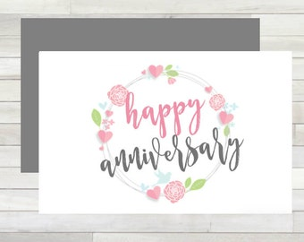 Greeting Card Happy Anniversary Floral Wreath Printable Instant Download Last Minute DIY
