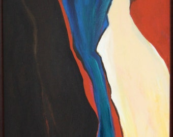 Abstract Painting of Canyon River in Brown, Blue, Cream and Rust