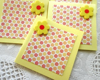 Mini Cards in Yellow and Red Floral Mini Print  Set of 10