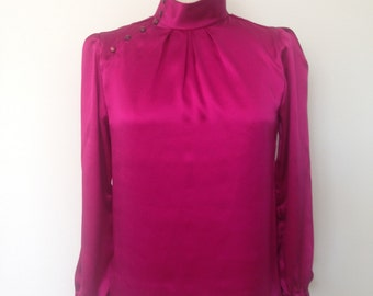 Silk long sleeve blouse with button feature