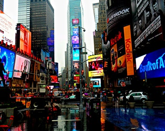 Times Square in the rain, Photography Print