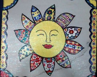 Sun painting on ceramic tile glazed with sparkle Mod Podge 12 x 12 inches
