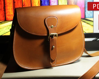 Leather bag pattern with tutorial Leather pattern Bag instructions DIY Pdf Pattern