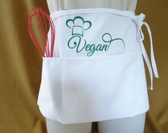 Vegan Chef's Hat 3 Pocket Waist Apron