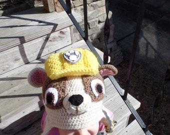 Paw Patrol Hat, Rubble Inspired Paw Patrol Hat, Crochet Paw Patrol Hat, Ready to ship