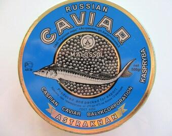 Vintage Rare Soviet Black Caviar tin, Caviar box, blue tin, Russian caviar tin , USSR, 1980, storage home decor