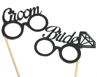 Photo Booth Props - Groom Bride Glasses Photo Booth Props