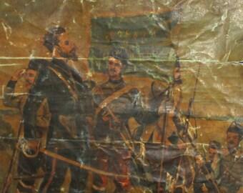 Antique Bulgarian large oil painting Hristo Botev