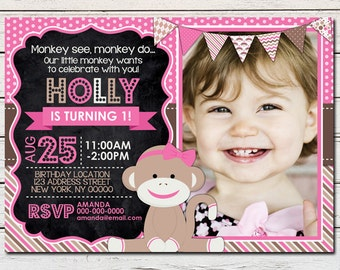 Sock Monkey Girl Printable Birthday Photo Invitation - DIY - PDF & JPG Files only