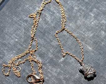 Raw Pyrite and Gold Necklace