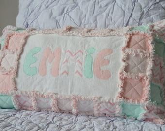 custom pillow, name pillow, rag quilt pillow, patchwork pillow, quilted pillow , applique pillow