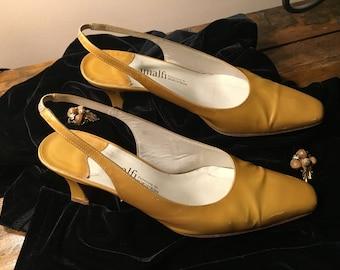 Vintage Amalfi Gold Patented Slingback Heels Size 6B