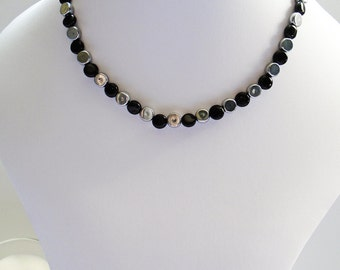 Onyx and Silver Disc Necklace