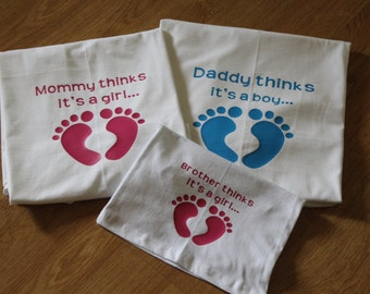 Gender Reveal T-Shirts, Mommy thinks it's a Boy/Girl, Daddy thinks it's a Girl/Boy, Brother/Sister think it's a Boy/Girl. Baby