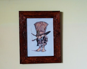 Cross stitch Embroidery handmade man with tuba framed