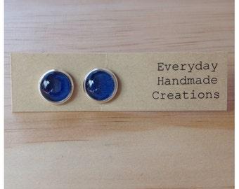 Glass Stud Earrings - 10mm - Deep blue  - Imperfections on earrings
