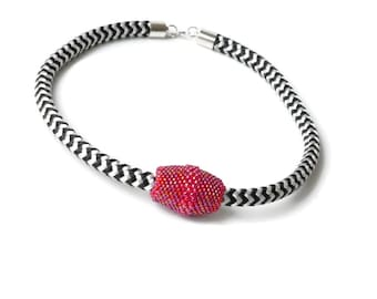 Rope Textile Climbing Rope necklace, Pink necklace, bright color, Black and White necklace, Beaded Necklace, Beaded bead Rope, Pink Ball