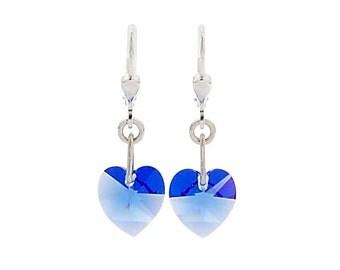 SWAROVSKI Mini Heart Sterling Silver Earrings in Blue Sapphire