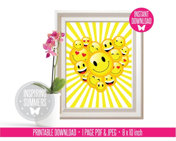 Emoji Wall Art positive vibes emoji faces wall art emoji birthday party