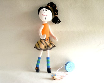 Handmade Cloth Doll,Handpainted Art Doll,17 In Doll,Seventies Inspired Doll,Decorative Doll,Lucille Original Doll,One In Stock,ready to ship