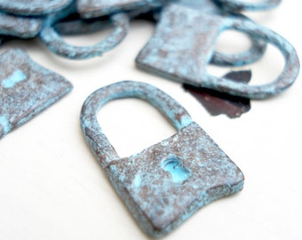 Patina Padlock Charm, Pack of 10, Greek Metal, Mykonos Beads