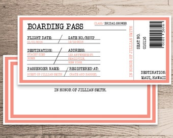Bridal Shower Invitation Download/ Boarding Pass Destination Wedding Customize Personalize/ Emma Collection/ Print at Home Only