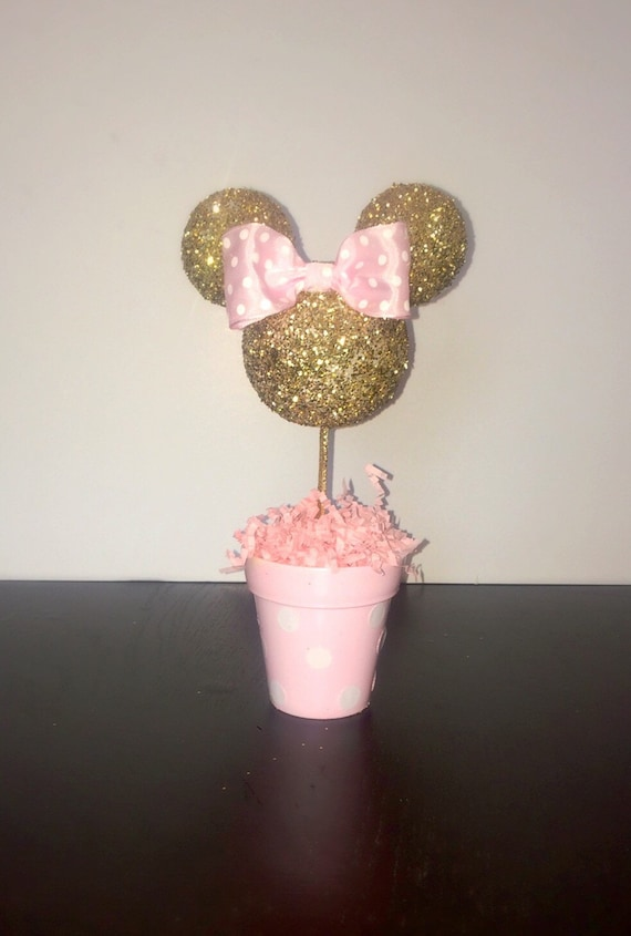 Pink and gold minnie mouse centerpiece by amyjays