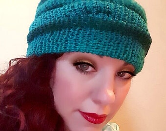 Handmade Knit Slouchy Beanie  - Totally Turquoise