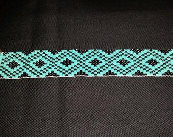Handmade Bracelet, Black Diamonds, Loom Beaded