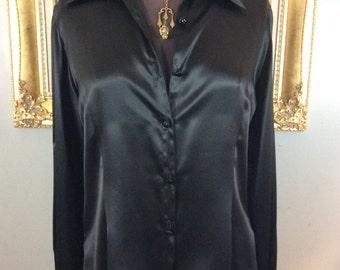 Gorgeous Black Silk Embellished Blouse by Joanna Mastroianni