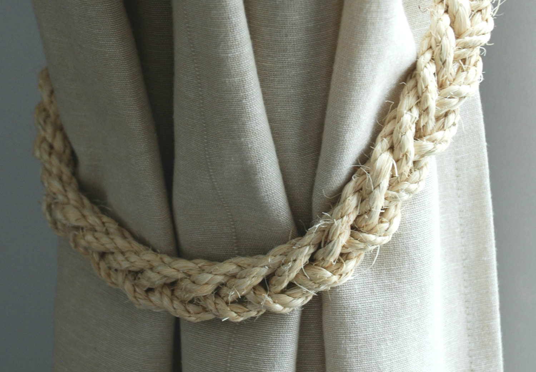 handmade rustic nautical sisal rope curtain tiebacks - Sisal Rope
