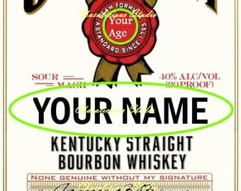 Personalized Edible Icing Sheet Wafer Paper Jim Beam Bottle Label Cake Topper A4