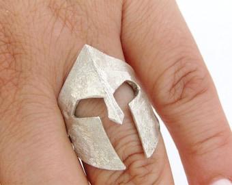 Spartan helmet ring - Helmet ring- Spartan helmet - Silver helmet ring - Bronze helmet ring - Ancient Greece - King Leonidas - Warrior ring