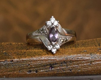 Purple Marquise Gemstone Silver 925 Multistone Ring, US Size 7.75, Used