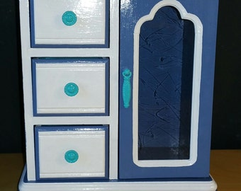 18-Inch Doll Dresser Blue/White
