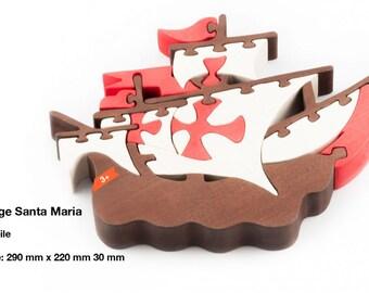 Wooden puzzle ship Santa Maria