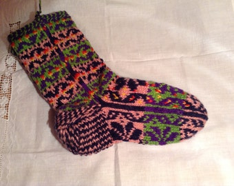 Hand Knit Socks Made of Pure Wool