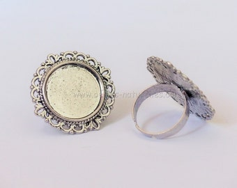 20mm - 1/10/50/100 - Cabochon Ring - Antique Silver Adjustable Cabochon Ring